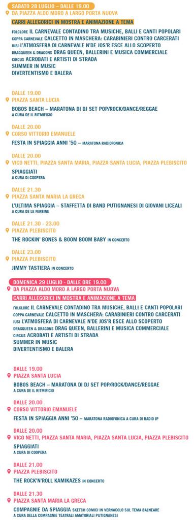 Programma Carnevale di Putignano